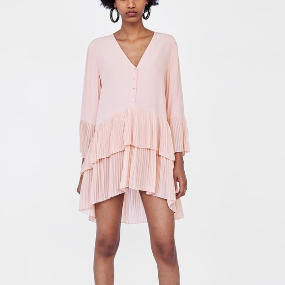 130d8d8b0b202e Zara pale pink contrasting pleated blouse